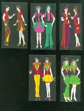 """5 Watercolors of a Couple in Different Fanciful Attire c1930s 4 1/2""""  Vibrant"""