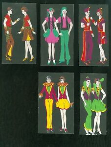 "5 Watercolors of a Couple in Different Fanciful Attire c1930s 4 1/2""  Vibrant"