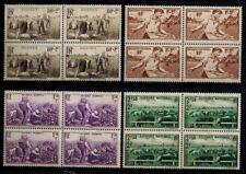 """(a15) timbres France n° 466/469 neufs** année 1940 """"blocs de 4"""""""