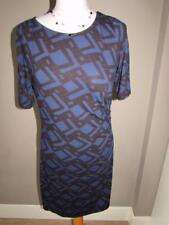 MARKS & SPENCER Ladies Blue Black Pattern Tunic Wiggle Dress Size 12 PETITE