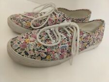 Woman's Size 8 Men's Size 6.5 Vans Floral Pink Lace Up Casual Shoes Sneakers