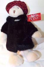 "Russ Berrie 12"" Beige Teddy Bear ""NURIA"" Faux Black Fur Coat with Pearls NWT's"