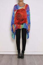 Parisien Fleur tunique caftan Kimono chemise Haut en voile flottante T50