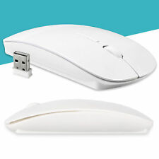 Gloss White Cordless Mouse USB Optical Scroll For PC Laptop Computer 2.4 GHz