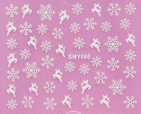 Christmas WHITE Snowflakes Glittery Reindeer 3D Nail Art Sticker Decal UV SMY060