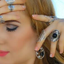 Black Stone Antique Silver Boho Punk Agate Statement Large Retro Fashion Ring