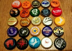 15 BEER CIDER BOTTLE TOPS CAPS GUARANTEED ALL DIFFERENT ARTS CRAFTS