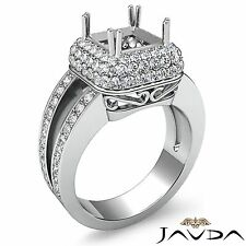 3 Row Halo Pave Princess Cut Semi Mount Diamond Engagement Platinum 1.25Ct Ring