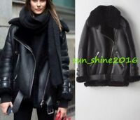 Hot Lady Fur Leather Shearling Bomber Coat Parka New Women's Oversized Jacket ss