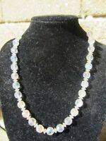 Vintage 1950's Clear Glass Beaded Ladies Necklace-Rainbow Effect-Single Strand