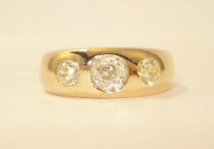 18ct Old Cut 1.130pt Diamond Trilogy Ring with £3,500.00 Safeguard Valuation