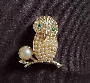 Vintage Sarah Coventry Faux Pearl Rhinestone Owl Brooch