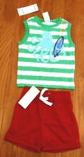 NWT Gymboree Green and White Striped Tank Top + Red Shorts Boy's Size 6-12 Mos