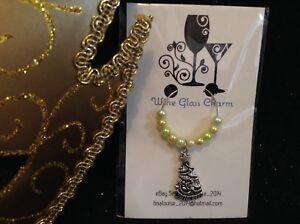 Wine Glass Charm - Single / Beaded - Christmas Tree (Fancy)