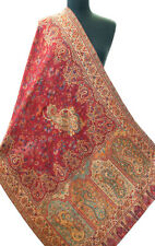 "Red Wool Jamavar Floral Paisley Shawl Hand-Cut Kani Gold Pashmina 80"" x 28"""