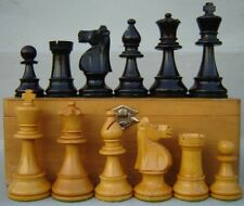 """Vintage LARGE 4"""" French Lardy Staunton Chess Set, men, pieces in Wood Box France"""