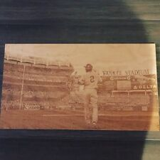 Derek Jeter image engraved on birch plywood with laser engraver