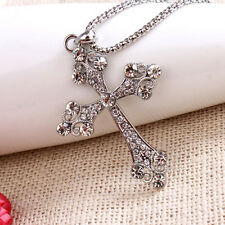 New Womens Mens Retro Style Crystal Rhinestone Cross Pendant Long Chain Necklace