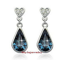 White Gold Fill Sapphire Blue Teardrop Earring Made With Swarovski Crystal IE35