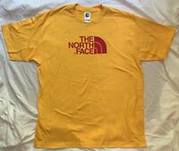 The North Face Mens Logo Graphic T-shirt Yellow Red Cotton size Large