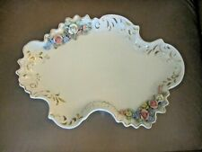 """Heirlooms of Tomorrow"" Porcelain Dresser Tray w/3 Dimensional Flowers 8"" x 12"""