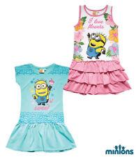 Children Mini Dress Tunic Girl Minions Dress Turquoise Pink 116 128 140 152 #810