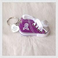New Purple Ribbon Cancer Awareness Tennis Shoe Keychain w/ Love Hope Cure Charm