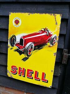 Shell Enamel Sign shell race car sign motor oil petrol shell service garage sign