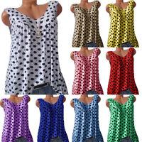 Plus Size Womens Sleeveless Polka Dot Tank Tops Summer Casual Loose T-Shirt Vest