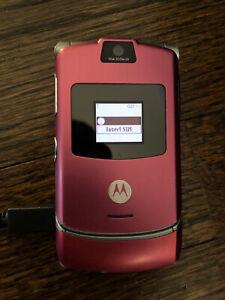 Motorola RAZR V3 Pink Flip Razor Cell Phone Magenta wireless AT&T