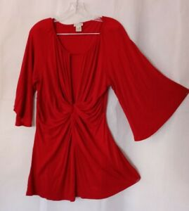 Boston Proper Top L Red Soft Stretch Rayon Babydoll Femme Twist Front Shirt