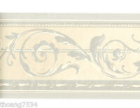 Traditional Metallic SILVER Grey Taupe Acanthus Leaf Scroll Wall paper Border
