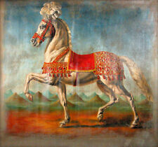 Oil painting animal white horse battle steed in landscape no framed Hand painted