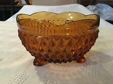 "Vintage AMBER GLASS Candy Dish Mid-Century Bowl 5"" Diamond Pattern Three Feet"