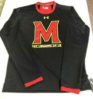 Under Armour Heat Gear Maryland Terrapins Black LONG SLEEVE T-shirt Men's SZ 2XL