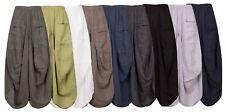New Ladies Lagenlook Italian Boho 2 Pockets Parachute Harem Linen Trousers Pants