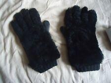 Dolce & Gabbana Mens Leather Gloves Black Leather and Lambswool Size 9