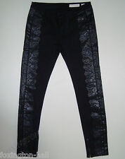 "STUNNING SASS&BIDE BLACK PRINTED SKINNY JEANS 30 ""UP FRONT"" Greaty 180"