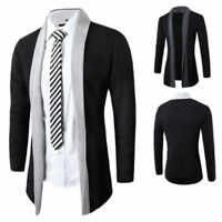 Men Casual Slim Fit Collared Long Sleeve Sweater Knitted Cardigan Blazer Jacket