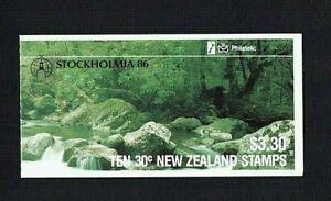 New Zealand: 1986 $3.30  Stamp Booklet, Stream, Stockholmia,overprint, SB42