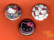 "Set of three 1"" Hello Kitty pinback buttons pins"