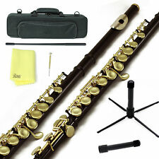 Sky Black Gold C Close Hole Flute w Case, Stand, Cleaning Rod, Cloth and More