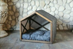 Indoor Dog House Wood Dog Bed Solid Wood Kennel Cat Bed Dog Crate Tent Dog Bed