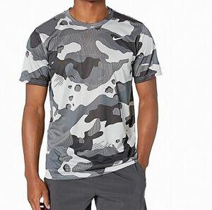 Nike Mens Shirt Gray Size XL Activewear Short Sleeve Camo Dri-Fit $25 #130
