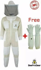 Top Quality3Layer Beekeeping Unisex Ventilated Full Suit & Round Veil+Gloves. L
