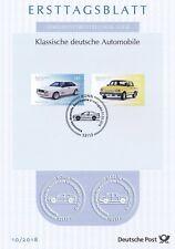 BRD 2018: Audi quattro und Wartburg 1.3! Ersttagsblatt der Nr. 3367+3368! 1910
