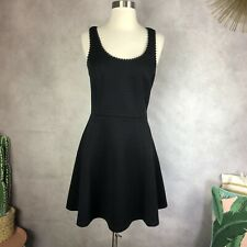 Club Monaco Womens Scallop Trim Criss Cross Keyhole Open Back Black Dress Size 4