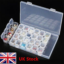 28 Slots Empty Storage Container Case Box for Art Nail Tips Rhinestone Gems Ring