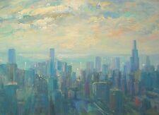 "Well listed American Artist Nino Pippa Chicago Skyline Painting COA 18"" X 24"""