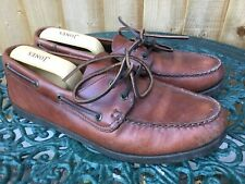 MENS CLARKS BROWN TAN LEATHER DECK BOAT LACE UP MOCCASIN SHOES UK 11